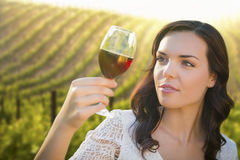 Young Adult Woman Enjoying A Glass of Wine in Vineyard Royalty Free Stock Photography
