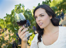 Young Adult Woman Examines A Glass of Wine in Vineyard Royalty Free Stock Photography