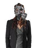 Young adult woman and gas mask Royalty Free Stock Photos