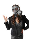 Young adult woman and gas mask Royalty Free Stock Photography
