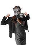 Young adult woman and gas mask Stock Photo