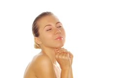 Young adult woman with health skin of face. Portrait of young adult woman with health skin of face stock images