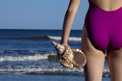 Young adult woman holding a triton seashell. Young adult woman in a swimsuit holding a triton seashell Off center for copy space royalty free stock images