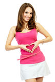 Young adult woman posing making a heart Stock Photography