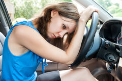 Young adult woman in rush hour stock images