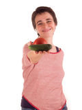 Young adult woman with short hair  a red top, blue jeans on white background in different poses, and various facial expressions. N Stock Images