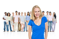 Young adult woman standing crowd Community Concept stock images