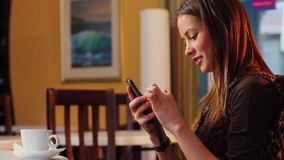 Young adult woman typing message mobile touch phone, dating. Stock footage stock video footage