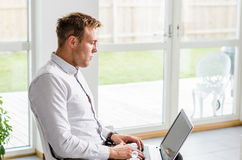 Business man working with laptop Royalty Free Stock Photo