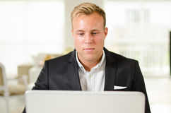 Business man working with laptop Royalty Free Stock Photography