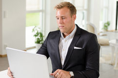 Business man working with laptop Stock Photos