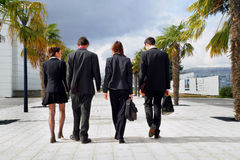 Young adults in business suits. Two young women and two young men walking outside dressed in business suits, from behind Royalty Free Stock Photo