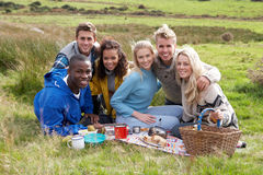 Young adults on country picnic. Smiling Stock Photo