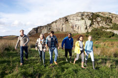 Young adults on country walk Stock Photography
