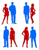 Young adults couple silhouettes Stock Photography
