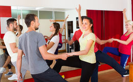 Young adults dancing in a studio. Cheerful young adults having active dance class. Selective focus Royalty Free Stock Photos