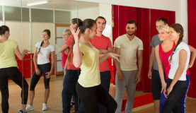 Young adults dancing in a studio Royalty Free Stock Photography