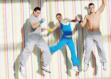 Young adults group in fitness club Royalty Free Stock Photography