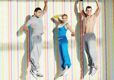 Young adults group in fitness club Royalty Free Stock Photos