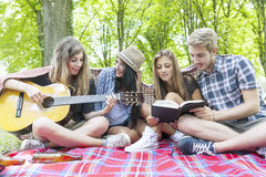 Young adults have fun with guitar Stock Photography
