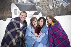 Young Adults Having fun in Winter royalty free stock image