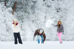 Young adults playing with snow Stock Photos