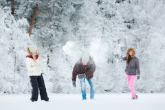 Young adults playing with snow Royalty Free Stock Image