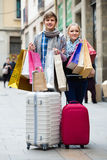 Young adults in shopping tour Stock Images
