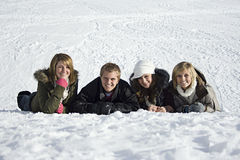 Young adults in the Snow stock image