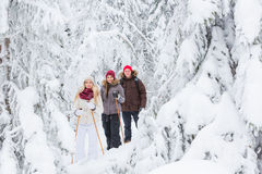 Young adults snowshoeing Stock Photography