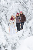 Young adults snowshoeing Stock Photos