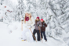 Young adults snowshoeing Royalty Free Stock Photo