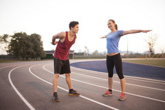 Young adults working out together Royalty Free Stock Photography