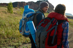 Young Adventurers in Mountains Stock Photo