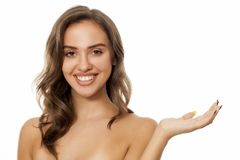Young advertising woman royalty free stock images
