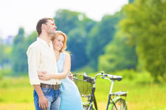 Young Affectionate Caucasian Couple Resting together in the Park Stock Image