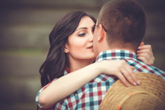 Young affectionate couple kissing tenderly Royalty Free Stock Images