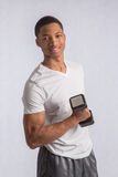 Young African American Athlete Holding Lifting Dumbbells Royalty Free Stock Photos