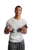 Young African American Athlete Holding Lifting Dumbbells Royalty Free Stock Images