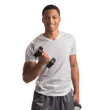 Young African American Athlete Holding Lifting Dumbbells Stock Images
