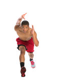 Young African American Athlete Sprinting Isolated Royalty Free Stock Photo