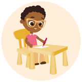 Young african american boy paints sitting at a school desk . Vector illustration eps 10. Flat cartoon style. Stock Photo