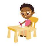 Young african american boy paints sitting at a school desk . Vector illustration eps 10. Flat cartoon style. Stock Photography