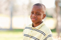 Young African American Boy Playing in the Park Stock Photography
