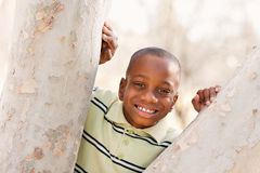 Young African American Boy Playing in the Park Stock Photo