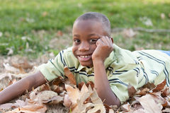 Young African American Boy Playing in the Park Royalty Free Stock Photos