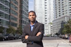 Young African American business man  looking sharp and confident. Portrait of Young African American business man looking sharp and confident, photographed in Royalty Free Stock Photography