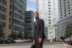 Young African American business man looking sharp and confident Royalty Free Stock Photos
