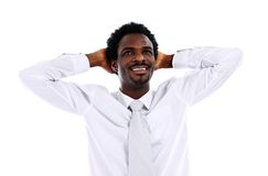 Young African American business man relaxing Royalty Free Stock Images