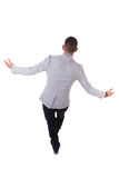 Young african american business man walking on a line - Black pe Royalty Free Stock Photography